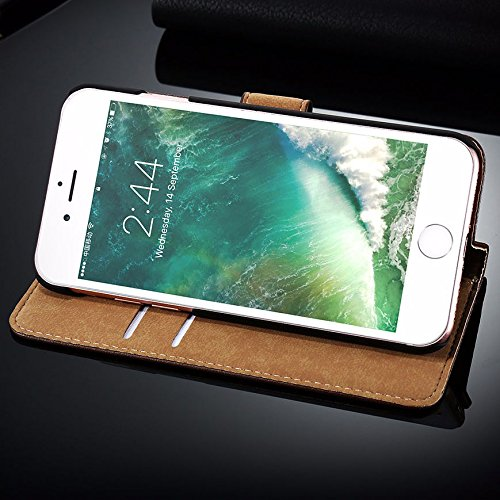 AMO® New différentes couleurs Portefeuille en cuir véritable étui livre avec support Coque pour iPhone 44G 5G 5C 66PLUS, Cuir, noir, 6G