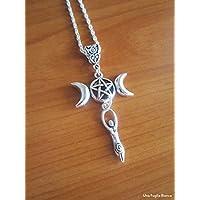 Collana triplice luna dea madre, pendente, celtico, pagano, handmade