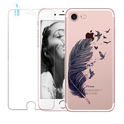 Coque iPhone 5/5S/SE avec film protecteur d'écran en verre trempé, Blossom01Ultra mince souple en gel TPU Coque de protection en silicone avec motif de plumes pour iPhone 5/5S/SE iPhone 5 / 5S / SE # #01