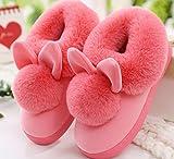YunShuo Stil Lovely Kaninchen Ohren Weich Home Hausschuhe Baumwolle Warm Winter Frauen Hausschuhe Casual Innen Hausschuhe, Wassermelone, 6