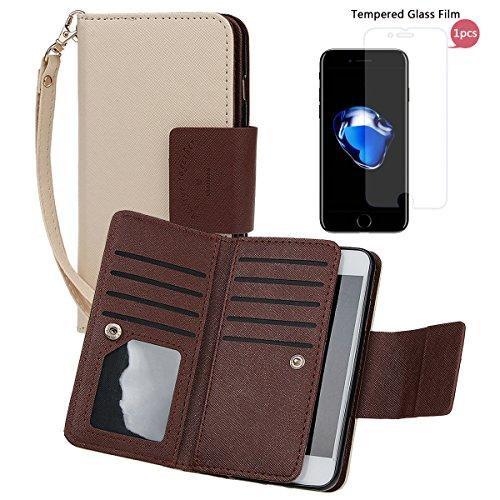 """xhorizon [Aktualisiert] [Luxusgold] [Erklassig] [Magnetisch Auto Mount Kompatible] Premium PU Leder Magnetisch Abnehmbar Mappen Kasten Abdeckung mit Kartensteckplätze Auto-Funktionen iPhone 7 (4.7"""") khaki+Glas"""