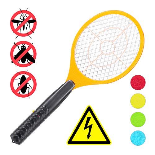 Relaxdays elektrische Fliegenklatsche, ohne chemische Stoffe, gegen Fliegen, Mücken & Moskitos, Fly Swatter, orange, HxBxT: 47x17,5x3cm