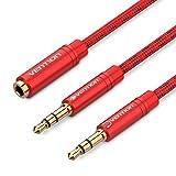 Cuffia microfono cavo in rosso color Vent, microfono audio splitter, microfono e altoparlante splitter cavo intrecciato per cuffie audio da 3.5mm femmina a 3.5mm maschio doppio PC laptop tablet 1m/3ft