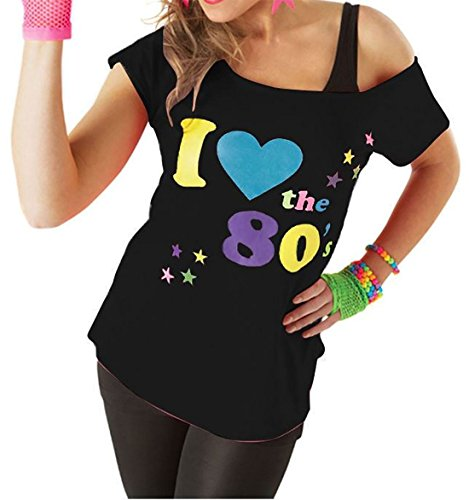 T-shirt «I Love 80's» pour femme, Noir/Rose, T-shirt rétro, Sexy, Fantaisie - noir - Taille Unique