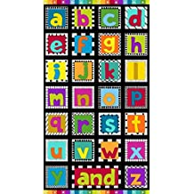 Bright Rainbow negro, ABC telas–ABC–Panel–mak573–Panel es 60cm x 110cm–cada cuadrado 12,5cm x 12,5cm–por Makower–100% algodón