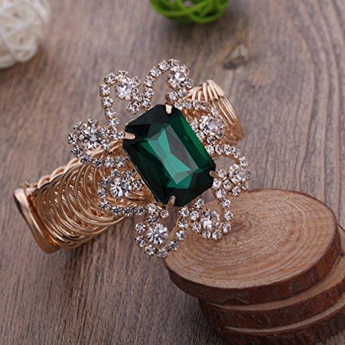 YAZILIND Belle Dame d'or strass Belle fleur de style Bracelet manchette Choix vert