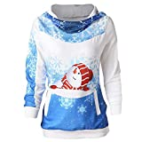 OverDose Damen Frauen-Weihnachtsmit Kapuze drucken Lange Hülsen-Sweatshirt-Blusen-Strickjacken-Partei-im Freien dünne Pullover Outwear Bluse(C-Blau,EU-38/CN-S)