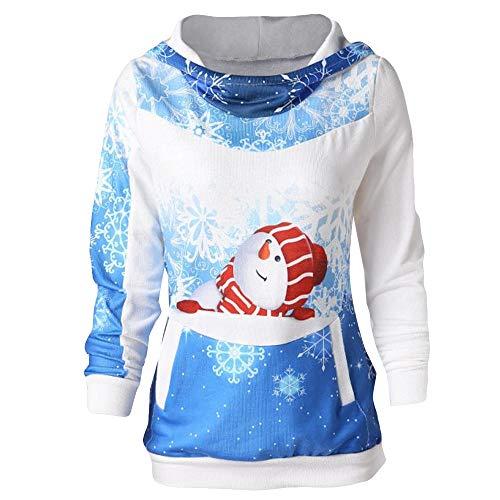 Fanxing Damen Bluse Hoodie SAMT Weihnachten Print Bodycon Kleid Damen Party Tops (Blau, L)