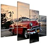 Bilderdepot24 Kunstdruck - Roter Oldtimer in Havanna - Bild auf Leinwand - 120x80 cm vierteilig - Leinwandbilder - Bilder als Leinwanddruck - Wandbild