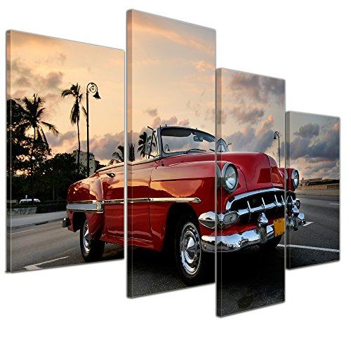 Wandbild - Roter Oldtimer in Havanna - Bild auf Leinwand - 120x80 cm vierteilig - Leinwandbilder - Motorisiert - Kuba - US-amerikanischer Oldtimer