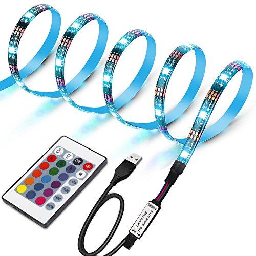 TV Hintergrundbeleuchtung Led Strip, Lunsy 1M RGB USB LED Licht Streife mit 24 Tasten 16 Farben, 4 Modi Fernbedienung für TV Bildschirm, Desktop PC Party usw