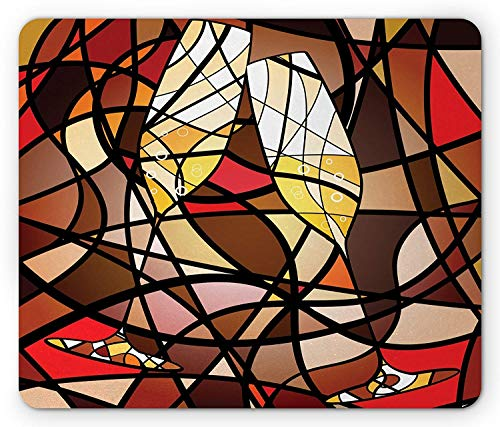 BAOQIN Mouse Pad,Winery Mouse Pad, Champagne Glasses on Colorful Abstract Background Shades Classic Celebration, Standard Size Rectangle Non-Slip Rubber Mousepad, Brown Red Yellow