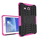 XITODA Compatible with Hülle Samsung Galaxy Tab 3 Lite 7.0, Hybrid PC + TPU Silikon Hülle Mit Stand Schutzhülle für Galaxy Tab 3 Lite 7.0 SM-T110/T111/T113/T116 Case Cover - Hot Pink