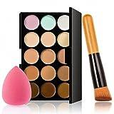 Molie Palette Maquillage Correcteur 15Couleur Anti Cerne Eponge Fond de Teint Pinceau Maquillage