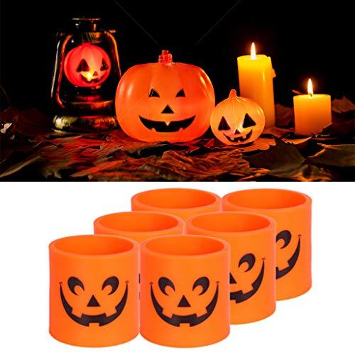 ECMQS 6 Stück Halloween Kürbislicht, Elektronische Leuchtende LED Kunststoff Kerzenlicht Für Zuhause Party Dekor -