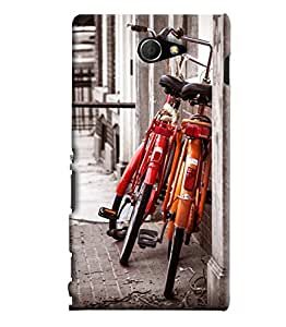 Blue Throat Two Cycle Standing Printed Designer Back Cover For Sony Xperia M2