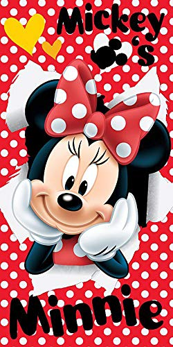 Jerry Fabrics 18TW232 Disney Minnie Maus Strandtuch Badetuch 70cm x 140cm Mickey-mouse-handtuch