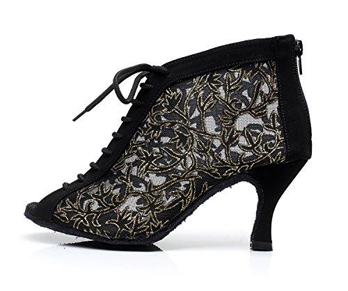 Minitoo QJ7018 Filet à fermeture Éclair pour femme Salsa Tango écoles Latin Mariage Soirée danse-chaussures Noir