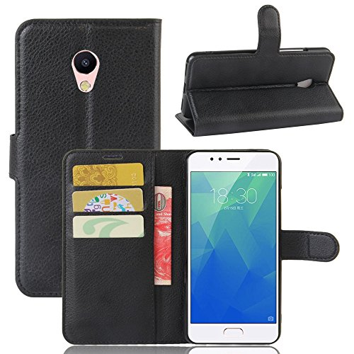 Guran® Custodia in Pu Pelle per Meizu M5S Smartphone avere Portafoglio e Funzione Stent Case Flip Cover Caso Copertura Protettiva-nero