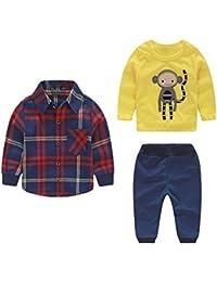 iBaste 3pcs Conjuntos de Niños Camisas de algodón + Pantalones largos + Chaqueta de la Moda