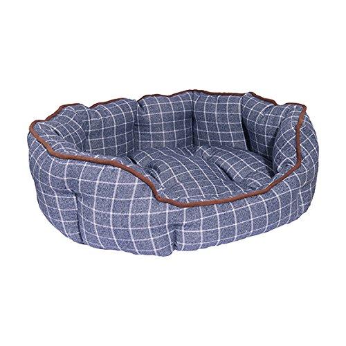 Rosewood 04432 Ovales Hundebett aus kuschelig weichem Material, blau