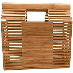 Bolsa ratán bolsa de Square-Bolsa de playa mujer gran paja bolso bambú hecho en la mano Pur bolsa de playa portátil Portable-fancylande
