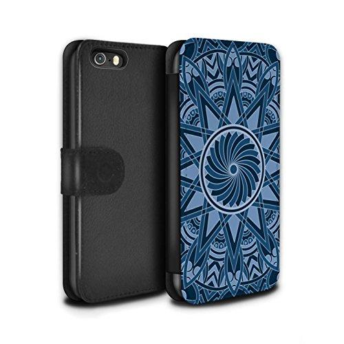Stuff4 Coque/Etui/Housse Cuir PU Case/Cover pour Apple iPhone SE / Octogone/Bleu Design / Art Mandala Collection Étoile/Bleu
