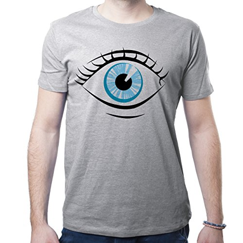Illuminati Triangle Art Majestic Blue Eye Herren T-Shirt Grau