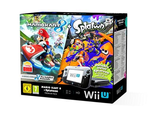 Console Nintendo Wii U 32 Go noire + Mario Kart 8 préinstallé +Splatoon (code de téléchargement)
