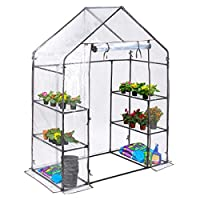 Christow Large 6ft Walk-In Greenhouse, Compact Garden Growhouse, 4 Shelves, Sturdy Steel Frame, Double Zip PVC Cover