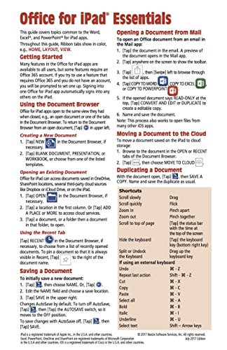 Für Ipad Microsoft Office (Microsoft Office for iPad Essentials Quick Reference Guide (Cheat Sheet of Instructions, Tips & Shortcuts - Laminated Card))