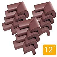 12-Pack Corner Guards by JamHooDirect - Premium Corner Edge Protector - Table Furniture Bed Baby Proofing Cushion Corner Guards Bumpers - Non Toxic & Keep Children Safe - Coffee Brown
