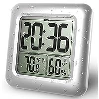 OOZIMO LCD Impermeable Baño Reloj, Montado en la pared, Ventosas, Digital muestra el tiempo, Temperatura, y Interior Relativo Humedad