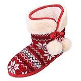Sibba Scarpe Stivali da Neve per Ragazze Donne Indoor Outdoor (EU 36-37, rosso)