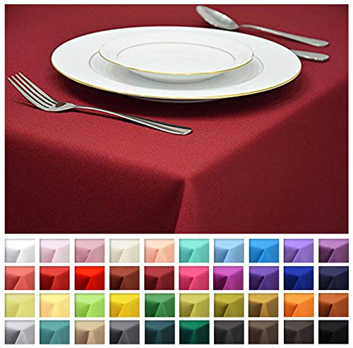 Rollmayer Tischdecke Tischtuch Tischläufer Tischwäsche Gastronomie Kollektion Vivid (Weinrot 13, 120x160cm) Uni einfarbig pflegeleicht waschbar 40 Farben - 40 X Tischdecke 40