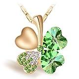 Joyfulshine Damen Kette Anhänger Halskette, Vier Blatt Klee Herzform Kristall Anhaenger, 18K Vergoldete Kette, 42cm + 6cm Halskette für Frauen Mädchen
