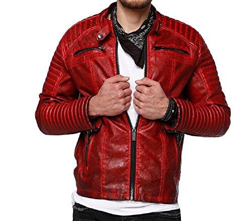 Red Bridge Hombres chaqueta de imitación de cuero de la chaqueta de cuero roja L
