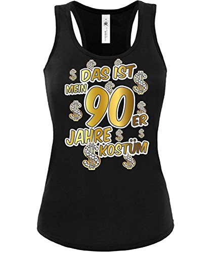 90er Jahre Kostüm Karneval Fasching Motto Schlager Party Damen Top Shirt Schlageroutfits Verkleidung Paarkostüm Perücke Hut Schlagerkleid Sonnenbrille (Top 90er Jahre Kostüm)