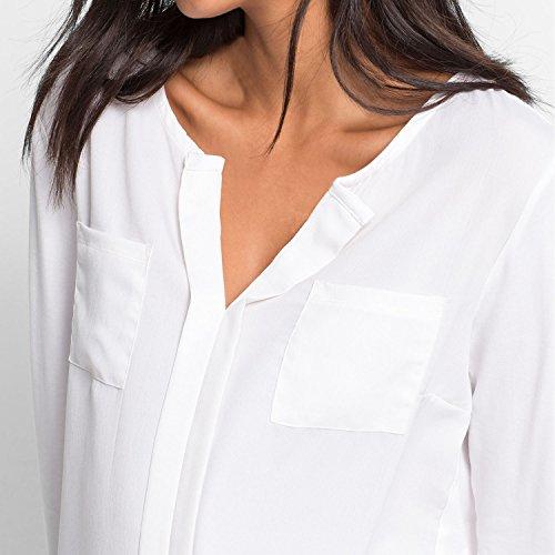 SUNNOW Chemise Femme Elégante Col V Beige Hauts Chemise Manches Longues Tops Chemise Femme Chemise Femme Blanc