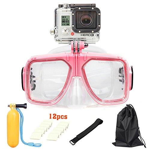 Gafas de buceo para deportes de agua, lentes de cristal templado, antiniebla y antifugas para GoPro Hero 4/3+/3/2/1, vale para hombres, mujeres, jóvenes y adultos, de UMsky, rosa