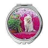 Spiegel, Schminkspiegel, Hund Welpe Pommerschen Tier Haustier Cute Canine, Taschenspiegel, Tragbare Spiegel