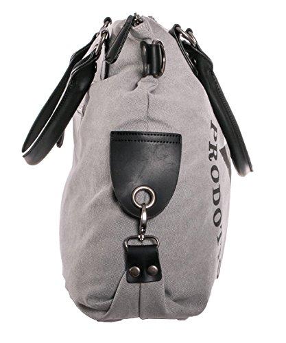 2787ec67a330b ... Damen Handtasche Tasche mit Stern Canvas Tasche Umhängetasche  Schultertasche canvas Henkeltaschen Grau ...