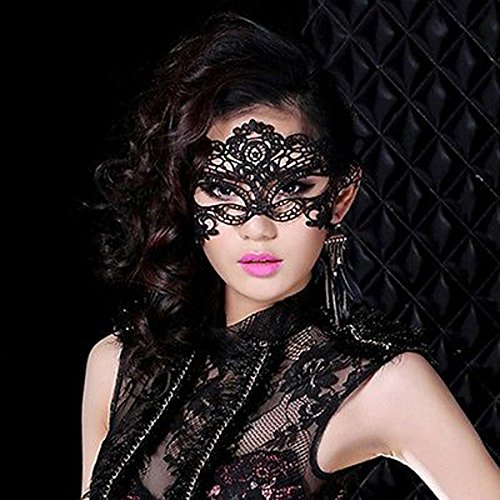 Sexy schwarz Youpin Lace Venezianische Maske, mit Federn + Kugel Kopf, Abschlussball, Halloween-Kostüm Kostüm-Deko-Set Cosplay (The Halloween Kostüme Grudge)
