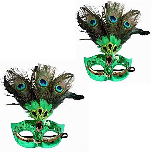 AMY-ZW Maskerade Federn Masken - Halloween Maske - Cosplay Kostüm Maske - Party Rave Maske - Erwachsene Und Kinder (Color : Green) (Edel Clowns Figuren Und Kostüm)
