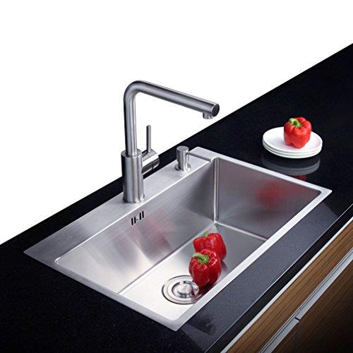 Auralum® 55cm*45cm*22cm Küchenspüle aus Gebürstetem Edelstahl 2 Montagelöcher:35mm &28mm 1 Becken Einbauspüle, 2 Jahren Garantie