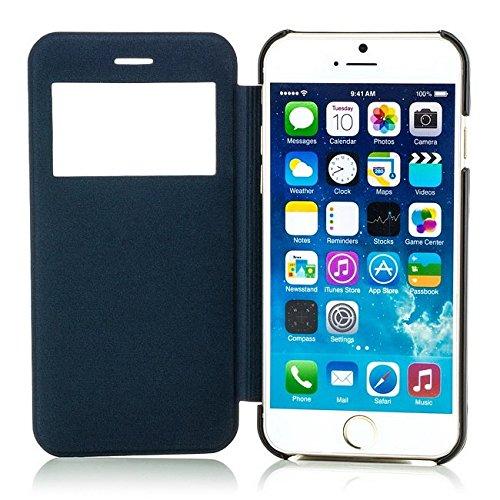 Saxonia Tasche + Panzerglas iPhone 6 / iPhone 6S Hülle Case Schutzhülle Flip View Cover mit Fenster und Kameraschutz Gelb Blau