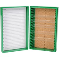 Heathrow Scientific HD15989B - Caja para portaobjetos (revestimiento interior de corcho, capacidad: 25 portaobjetos, longitud x anchura x altura: 141 mm x 88 mm x 35 mm), color verde