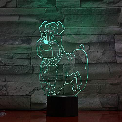 YDBDB Hund Bulldog Schreibtischlampe Nacht 3D Illusion Zimmer Dekorative Lampe Kind Kinder Baby Kit Hund Spike Nachtlicht Led