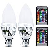 Bonlux 3W E27 LED Kerze Birne RGB Farbwechsel 16-Farben 4-Modus C35 Kerzenbirne für Hauptdekoration/Bar / Partei/KTV Stimmungs-Ambiente-Beleuchtung 2-Stück