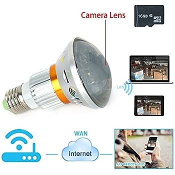 TEKMAGIC 16GB Wifi Réseau Caméra Miroir Ampoule Caméra Espion Mouvement Activé Caméscope Sécurité DVR Vision de Nuit Infrarouge Soutien iPhone Android APP Vue à Distance